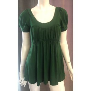 Deletta Short Sleeve Green Baby Doll Top